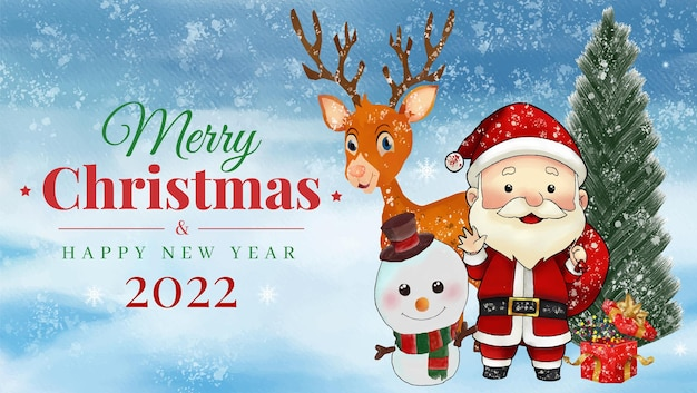 水彩画のクリスマスのテーマと飾りと新年あけましておめでとうございますのバナーの背景
