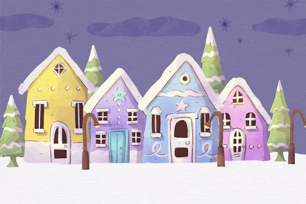 Акварельный рождественский городок ночью