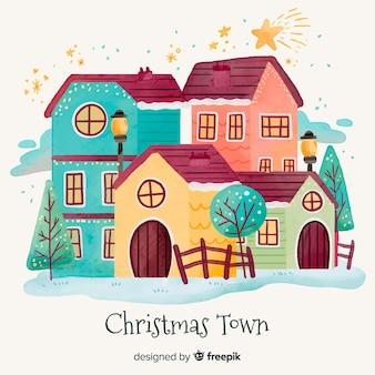 Акварельный фон рождественского городка