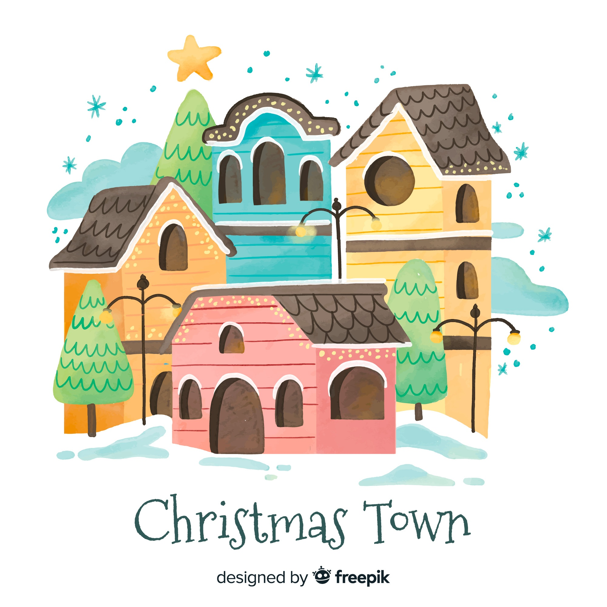 Watercolor christmas town background
