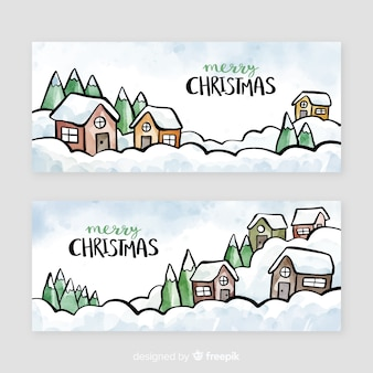 Watercolor christmas town banner collection