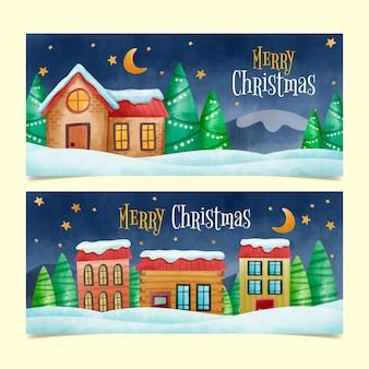 Набор акварельных баннеров рождественского городка
