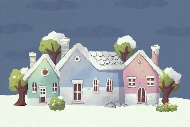 Акварельная иллюстрация рождественского городка ночью