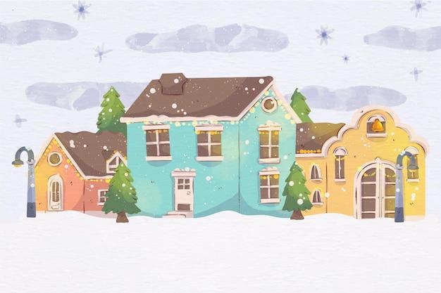Акварель рождественский городок иллюстрация