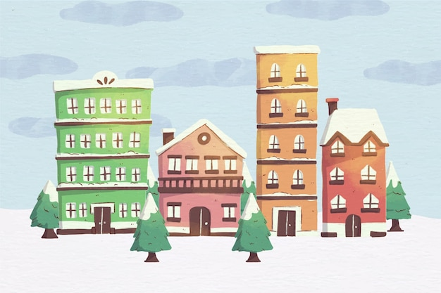 Watercolor christmas town illustration