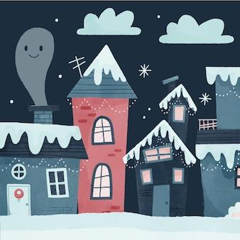 煙突のある水彩画のクリスマスの町