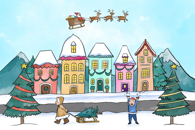 雪の中で遊ぶ子供たちと水彩のクリスマスの町