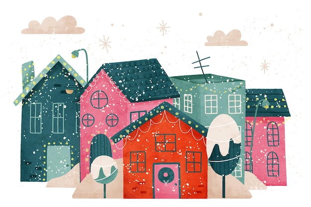 Watercolor christmas town