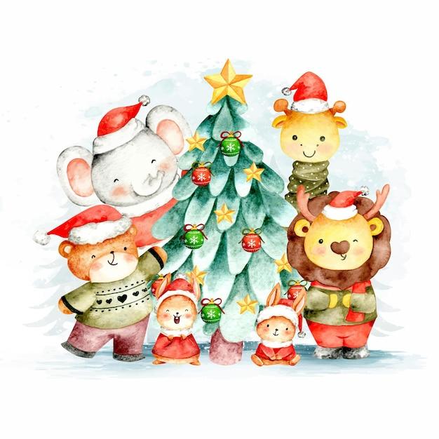 水彩のクリスマスツリーとジャングルの動物