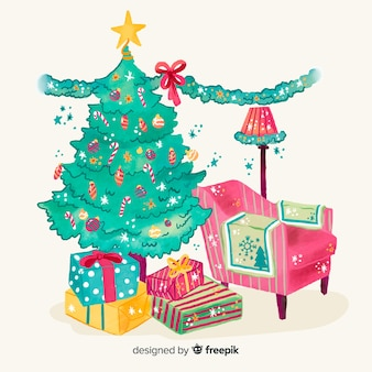 Watercolor christmas tree background