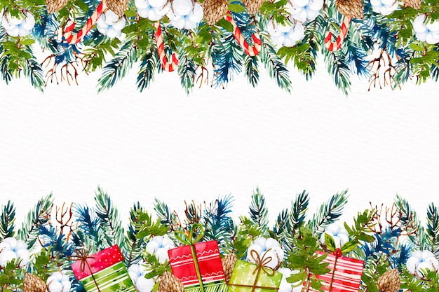 Watercolor christmas tree braches background