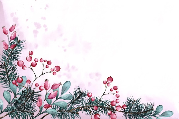 Watercolor christmas tree branches background with empty space