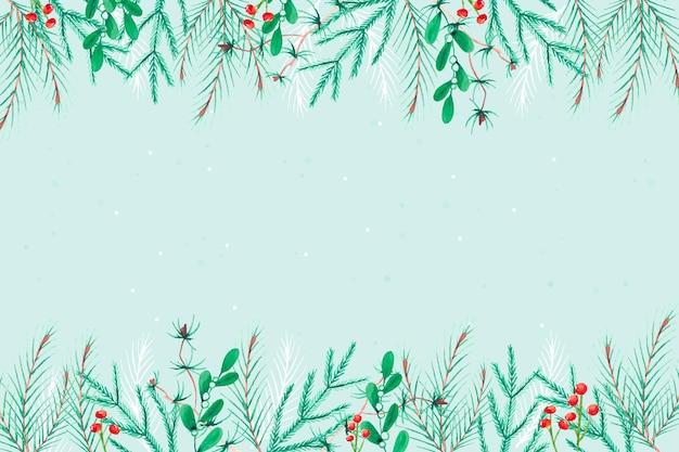 Акварель рождественская елка ветви фон