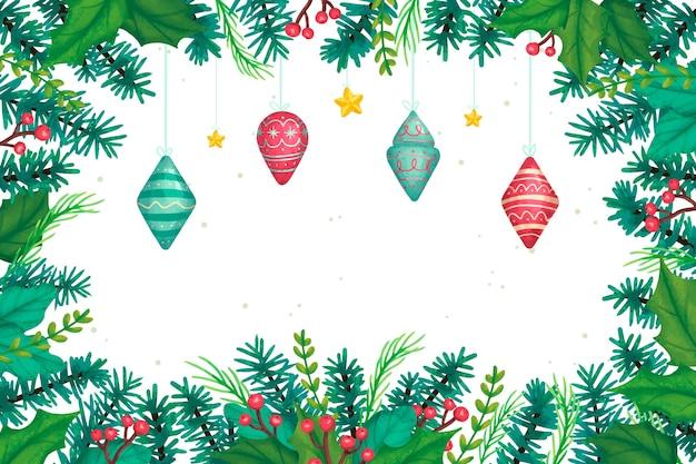 水彩のクリスマスツリーの枝の背景