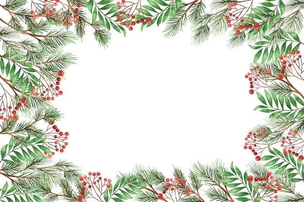 Watercolor christmas tree branches background