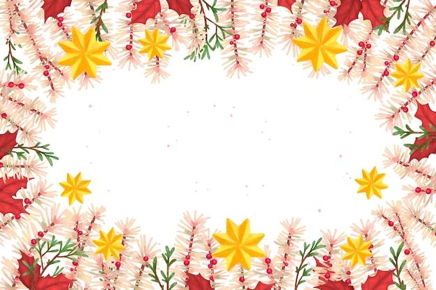 水彩のクリスマスツリーの枝の壁紙