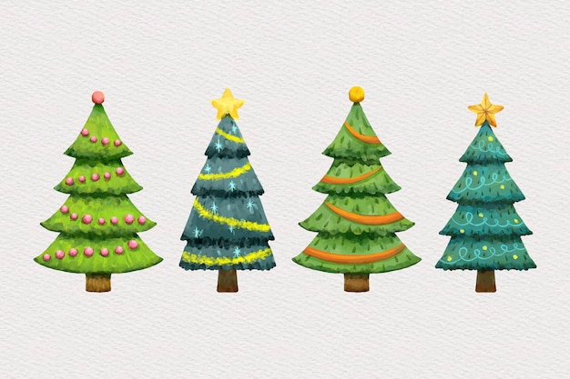 Watercolor christmas tree collection