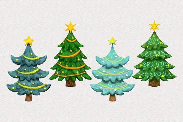 Accumulazione dell'albero di natale dell'acquerello