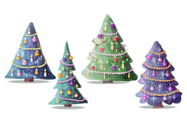 Коллекция акварельной рождественской елки