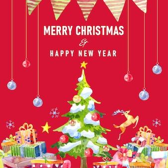 Акварельная рождественская елка украшена елочными шарами. подарочная коробка и олени внизу.