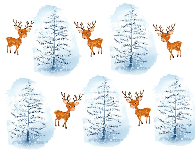 Watercolor christmas tree and deer background with snowflakes