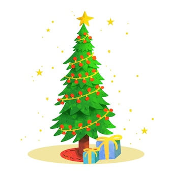 Watercolor christmas tree illustration