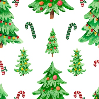 Watercolor christmas tree pattern with candies