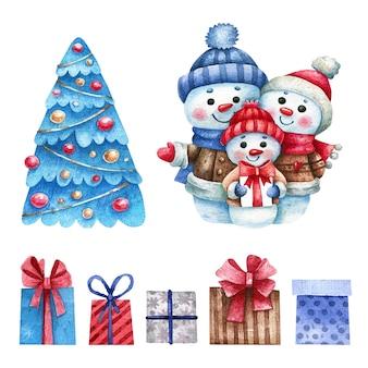水彩のクリスマスツリー、プレゼント、雪だるまの家族