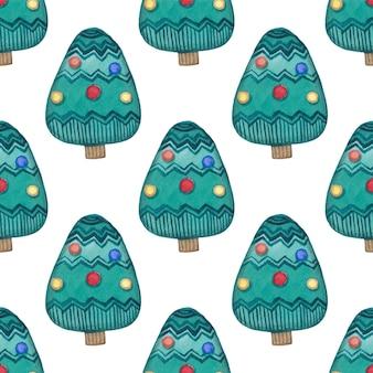 水彩のクリスマスツリーのシームレスなパターン