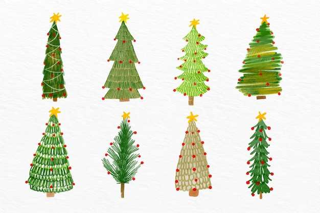 Watercolor christmas tree set