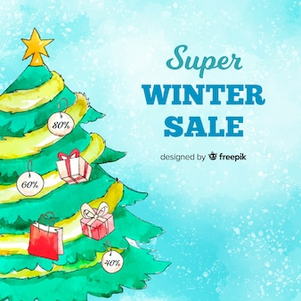 Watercolor christmas tree winter sale background