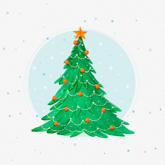 Watercolor christmas tree with decorations