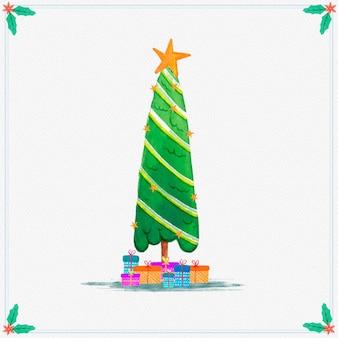 Акварельная новогодняя елка с подарками
