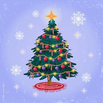 Акварельная рождественская елка с глобусами