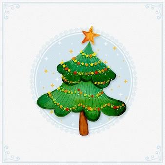 Акварельная новогодняя елка со звездой