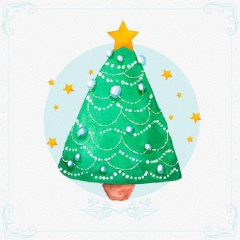 Watercolor christmas tree with stars