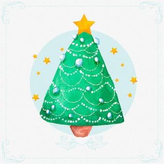 Акварельная рождественская елка со звездами