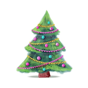 Watercolor christmas tree with tensel