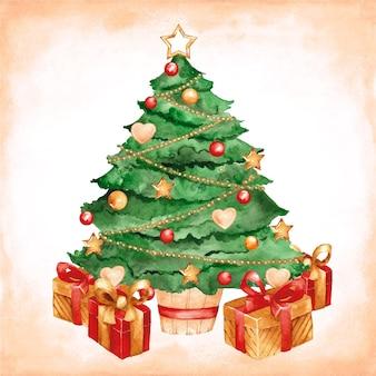Акварельная рождественская елка
