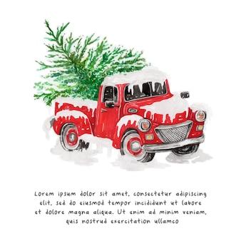 水彩のクリスマストラックとクリスマスツリーの赤いトラック