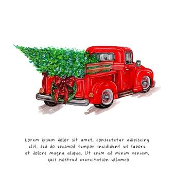 水彩画のクリスマストラックとクリスマスツリー。