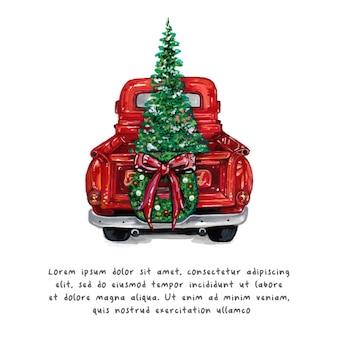 水彩のクリスマストラックとクリスマスツリー