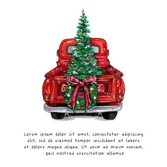 Watercolor christmas truck and christmas tree.
