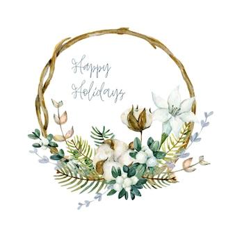 Акварельная новогодняя рамка из веток с ветками хлопка, зимние цветы, сушеные цветы и омела