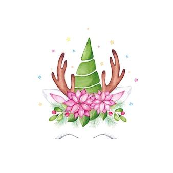 水彩のクリスマスユニコーンの顔。クリスマスツリー、ポインセチアの花、ヒイラギの冠と枝角を持つ水彩漫画のトナカイユニコーンの頭。