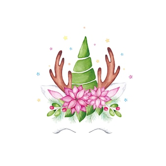 Watercolor christmas unicorn face. watercolor cartoon reindeer unicorn head with xmas tree, poinsettia flower, holly crown and antlers.