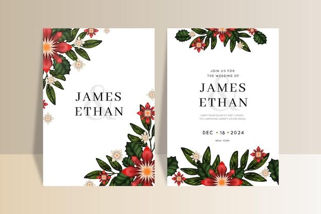 花と水彩のクリスマスの結婚式の招待状のテンプレート