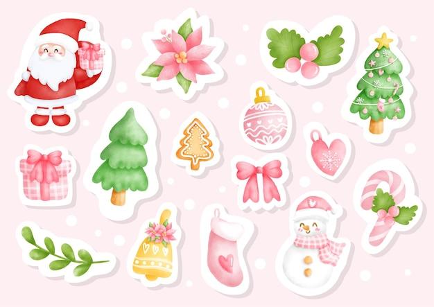 サンタと雪だるま要素イラストと水彩クリスマス
