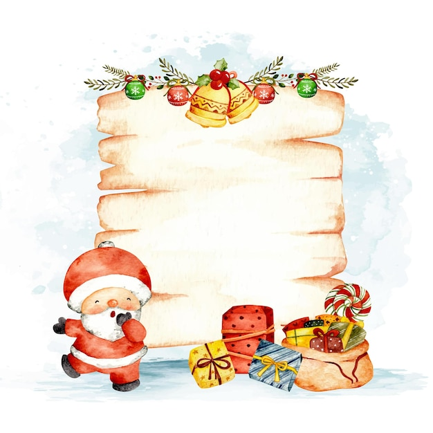Watercolor christmas wood sign template with santa claus and gift