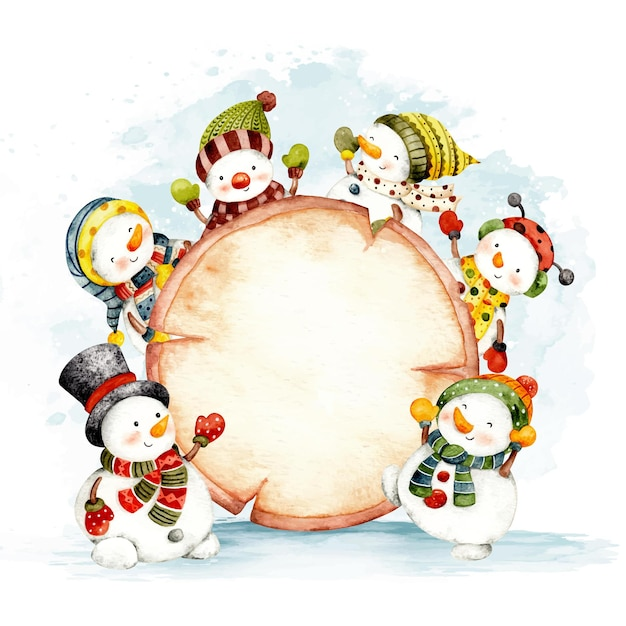 雪だるまと水彩のクリスマスの木製看板テンプレート